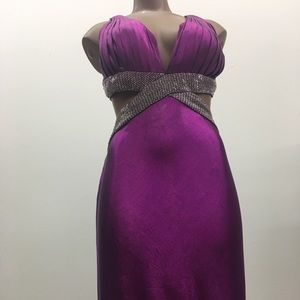 Purple Beaded Evening Gown